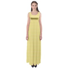 Pattern Yellow Heart Heart Pattern Empire Waist Maxi Dress