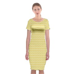 Pattern Yellow Heart Heart Pattern Classic Short Sleeve Midi Dress