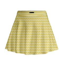 Pattern Yellow Heart Heart Pattern Mini Flare Skirt