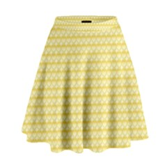 Pattern Yellow Heart Heart Pattern High Waist Skirt