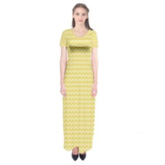 Pattern Yellow Heart Heart Pattern Short Sleeve Maxi Dress