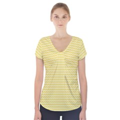 Pattern Yellow Heart Heart Pattern Short Sleeve Front Detail Top