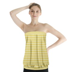 Pattern Yellow Heart Heart Pattern Strapless Top