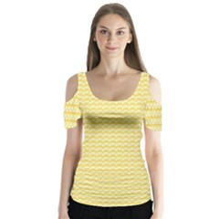 Pattern Yellow Heart Heart Pattern Butterfly Sleeve Cutout Tee
