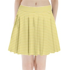 Pattern Yellow Heart Heart Pattern Pleated Mini Skirt