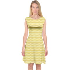 Pattern Yellow Heart Heart Pattern Capsleeve Midi Dress