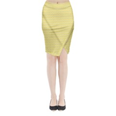 Pattern Yellow Heart Heart Pattern Midi Wrap Pencil Skirt