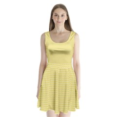 Pattern Yellow Heart Heart Pattern Split Back Mini Dress