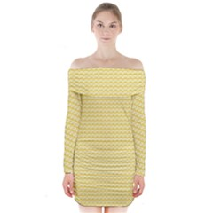 Pattern Yellow Heart Heart Pattern Long Sleeve Off Shoulder Dress