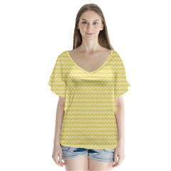 Pattern Yellow Heart Heart Pattern Flutter Sleeve Top