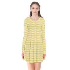 Pattern Yellow Heart Heart Pattern Flare Dress