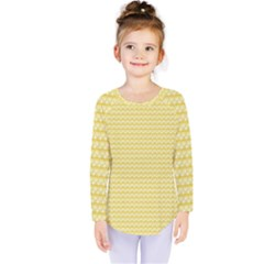 Pattern Yellow Heart Heart Pattern Kids  Long Sleeve Tee