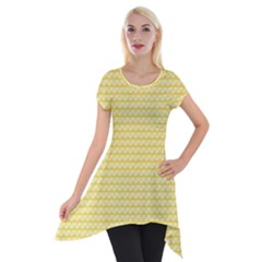 Pattern Yellow Heart Heart Pattern Short Sleeve Side Drop Tunic