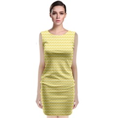 Pattern Yellow Heart Heart Pattern Sleeveless Velvet Midi Dress