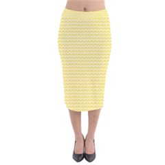 Pattern Yellow Heart Heart Pattern Velvet Midi Pencil Skirt