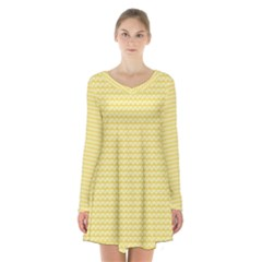Pattern Yellow Heart Heart Pattern Long Sleeve Velvet V-neck Dress