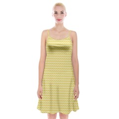 Pattern Yellow Heart Heart Pattern Spaghetti Strap Velvet Dress