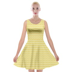 Pattern Yellow Heart Heart Pattern Velvet Skater Dress