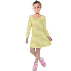 Pattern Yellow Heart Heart Pattern Kids  Long Sleeve Velvet Dress