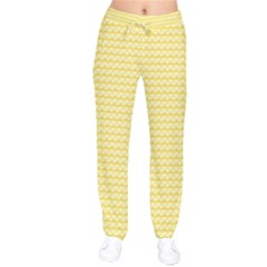Pattern Yellow Heart Heart Pattern Drawstring Pants