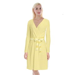 Pattern Yellow Heart Heart Pattern Long Sleeve Velvet Front Wrap Dress
