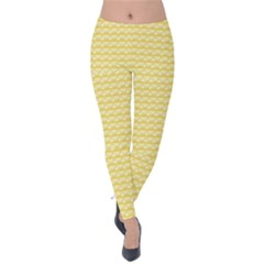 Pattern Yellow Heart Heart Pattern Velvet Leggings