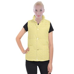 Pattern Yellow Heart Heart Pattern Women s Button Up Puffer Vest