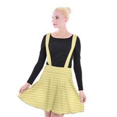 Pattern Yellow Heart Heart Pattern Suspender Skater Skirt