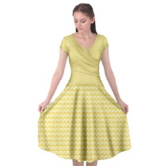Pattern Yellow Heart Heart Pattern Cap Sleeve Wrap Front Dress