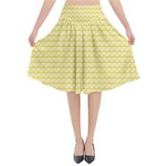 Pattern Yellow Heart Heart Pattern Flared Midi Skirt