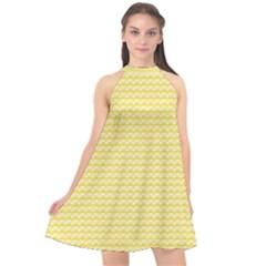 Pattern Yellow Heart Heart Pattern Halter Neckline Chiffon Dress