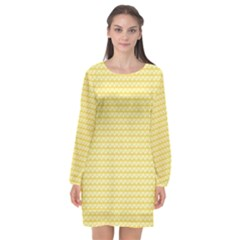 Pattern Yellow Heart Heart Pattern Long Sleeve Chiffon Shift Dress