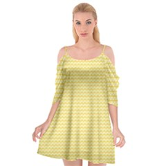 Pattern Yellow Heart Heart Pattern Cutout Spaghetti Strap Chiffon Dress