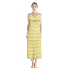Pattern Yellow Heart Heart Pattern Chiffon Maxi Dress