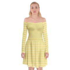 Pattern Yellow Heart Heart Pattern Off Shoulder Skater Dress