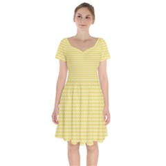 Pattern Yellow Heart Heart Pattern Short Sleeve Bardot Dress
