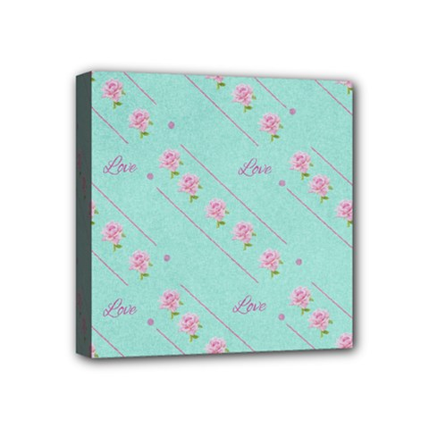 Flower Pink Love Background Texture Mini Canvas 4  X 4  by Nexatart