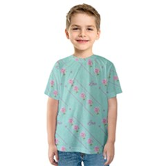 Flower Pink Love Background Texture Kids  Sport Mesh Tee