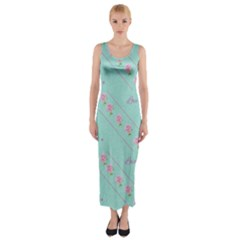 Flower Pink Love Background Texture Fitted Maxi Dress
