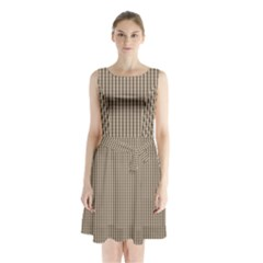 Pattern Background Stripes Karos Sleeveless Waist Tie Chiffon Dress