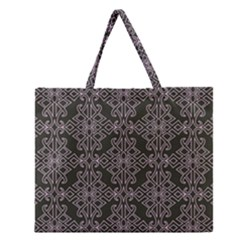 Line Geometry Pattern Geometric Zipper Large Tote Bag