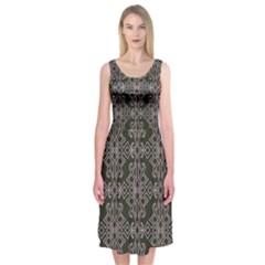 Line Geometry Pattern Geometric Midi Sleeveless Dress