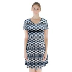 Texture Pattern Metal Short Sleeve V Neck Flare Dress