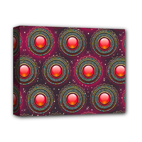 Abstract Circle Gem Pattern Deluxe Canvas 14  X 11  by Nexatart