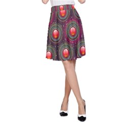 Abstract Circle Gem Pattern A Line Skirt
