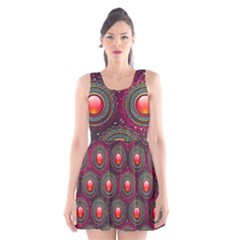 Abstract Circle Gem Pattern Scoop Neck Skater Dress