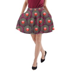 Abstract Circle Gem Pattern A Line Pocket Skirt