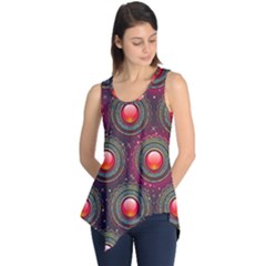 Abstract Circle Gem Pattern Sleeveless Tunic