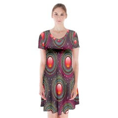 Abstract Circle Gem Pattern Short Sleeve V Neck Flare Dress