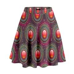 Abstract Circle Gem Pattern High Waist Skirt